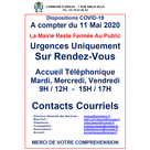 Dispositions COVID-19. Mairie d'Izeaux
