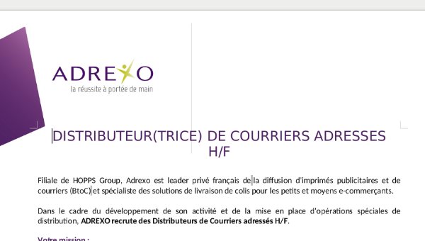 DISTRIBUTEUR(TRICE) DE COURRIERS ADRESSES H/F